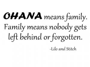 ohana means family lilo and stitch vinyl wall decal this quote is so ...