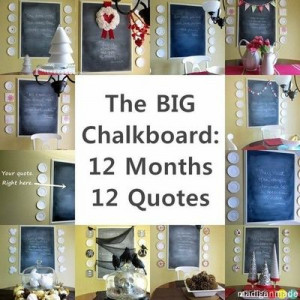 Chalkboard quote and seasonal decor that changes each month.