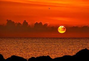 ocean, romantic, sand, sun, sunset