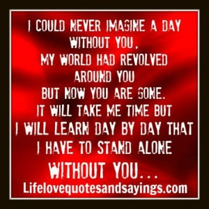 world had revolved around you. But now you are gone. It will take me ...