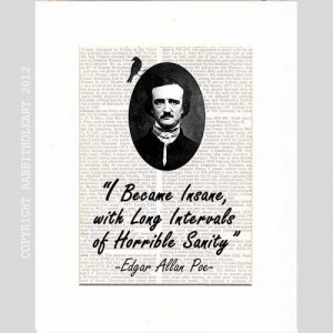 EDGAR ALLAN POE Quote Insane typography art print on upcycled vintage ...