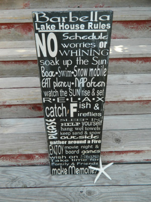 Lake Rules wood sign, handmade and handpainted with lots of fun ...