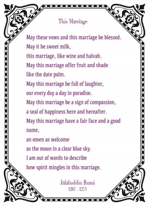 Wedding Reading: This Marriage – Jalaluddin Rumi
