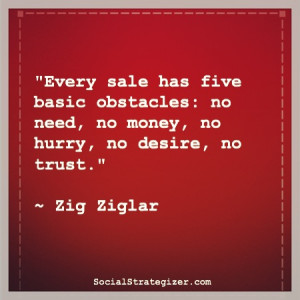 Every sale has five basic obstacles: no need, no money, no hurry, no ...