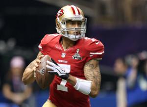 San Francisco 49ers quarterback Colin Kaepernick looks to pass during ...