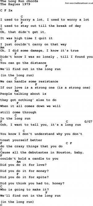 ... guitar chords for the long run the eagles 1979 song lyrics with guitar