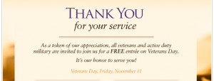 Veterans and active duty Military can get a Free entree at Olive ...