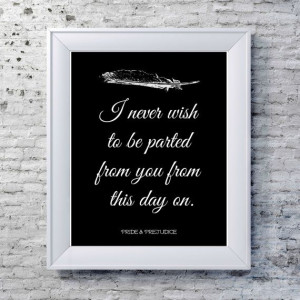 Prejudice Print, Literary Quote- Typography Print - Jane Austen Quote ...
