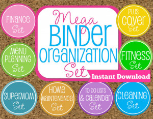 INSTANT DOWNLOAD Home Binder Mega Kit- Family Binder Organization Set ...