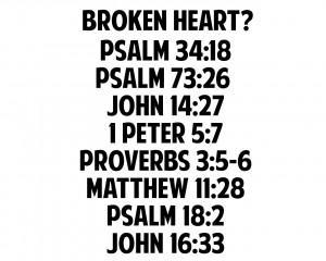 Bible verses for a broken heart.
