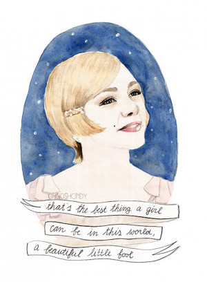 Daisy Buchanan watercolour portrait PRINT The Great Gatsby Carey ...