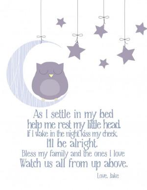 Bedtime Prayer with Sleeping Owl 11x14 Nursery. $14,00, via Etsy.