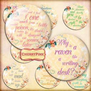 Alice in Wonderland Quotes 1 inch size Circles Printable images ...