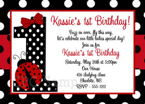 ... one, why not go with these cute ladybug 1 st birthday invitations