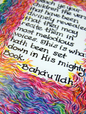art print of Bahai quote regarding children