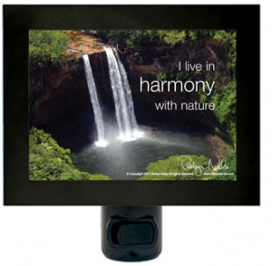 "live in harmony with nature"" positive affirmation night light"