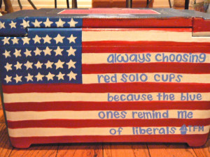 Back of brother's cooler with TFM quote and American flag