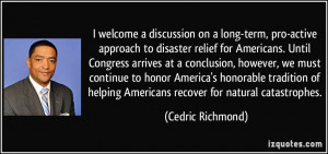 discussion on a long-term, pro-active approach to disaster relief ...