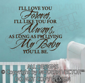 Details about I'll Love you Forever Quote Vinyl Wall Decal Lettering ...