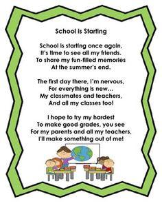 Back to School Poem FREEBIE! :)
