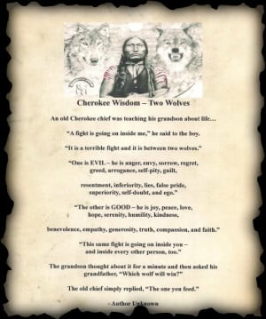 came across this Cherokee Wisdom teaching story about two wolves ...