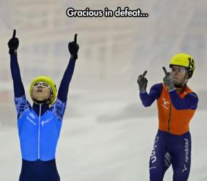 Sore loser: Speed skating edition…