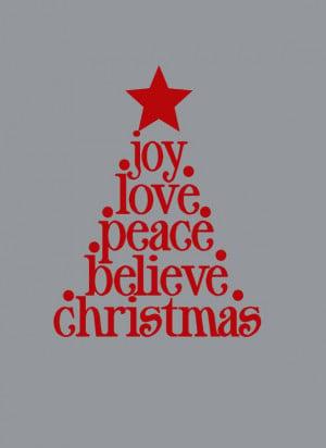 Vinyl Wall Decal Christmas Tree Joy Love Peace Believe Quote Sticker ...