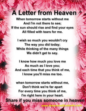 Dad In Heaven Quotes A letter from heaven,