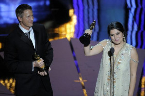 Daniel Junge and Sharmeen Obaid-Chinoy accept the Oscar for best ...