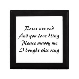Funny Marriage Proposal Poem on Ring Gift Box