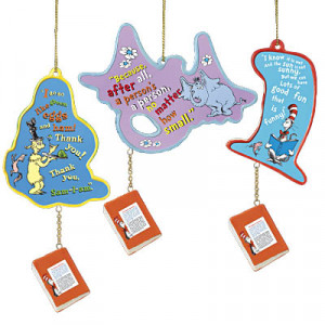Dr. Seuss Christmas Ornament Collection - reverse side of ornaments