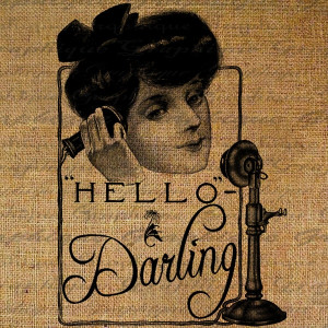Hello Darling Quote Vintage Woman On Telephone Digital Image Download ...