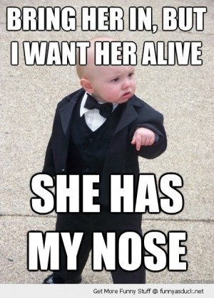 gangster baby meme alive has my nose cute kid suit funny pics pictures ...