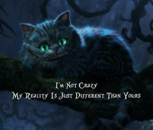 alice and wonderland, cat, crazy, creepy, eyes, grunge, quotes, scary
