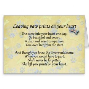 Pet sympathy card for pet loss - Leaving paw print