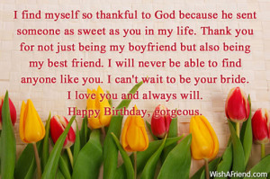 ... to god because he sent someone as sweet as you in my life thank you