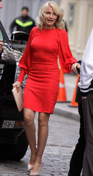 red: Cameron Diaz was pictured filming a scene on the set of The Other ...