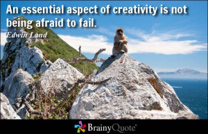 ... aspect of creativity is not being afraid to fail. - Edwin Land