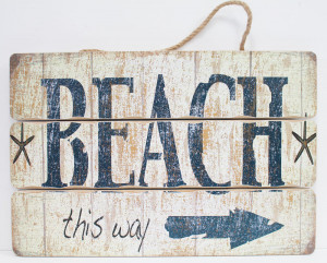 Wood Slat - Beach This Way Sign