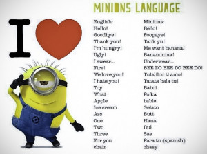 minions slang, minions language, minions accent, despicable me 2 ...