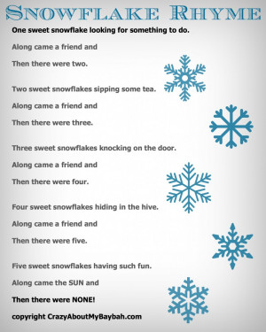 Funny Poems For Kids That Rhyme Snowflake
