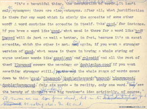 Newspeak and the destruction of words (from Orwell's 1984 manuscript)