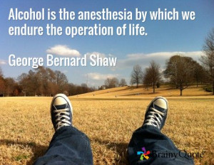 Alcohol is the anesthesia by which we endure the operation of life ...