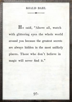 ... > Framed Art for Kids > Roald Dahl Quote Vintage Framed Art Print