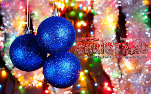 ... on the Christmas Tree Blue Christmas Greetings Wishes Quotes Wallpaper