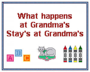 Cute Grandma Sampler Cross Stitch Pattern sayings