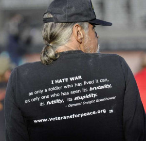 Marine veteran Bill Miniutti wears a shirt with a quote from Gen ...
