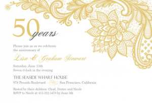 Elegant Lace Golden Anniversary Invitation by PurpleTrail.com.