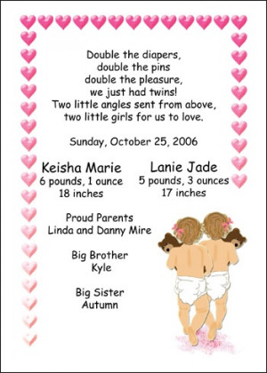 Baby Birth Announcements for Twins Triplets Multiples