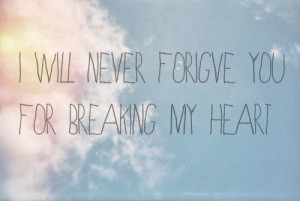 will never forgive you for breaking my heart.